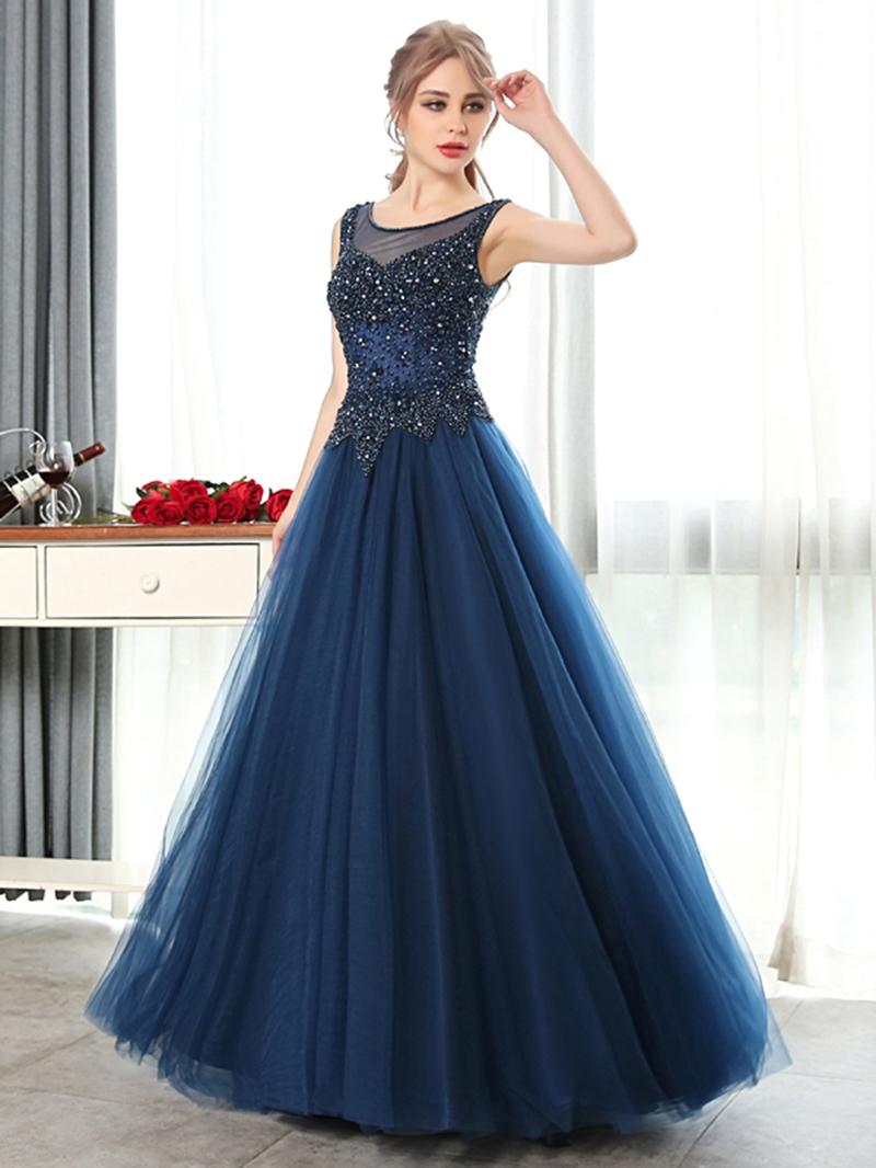 Ericdress A-Line Scoop Beading Crystal Floor-Length Evening Dress