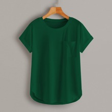 Plus Solid Pocket Curved Hem Tee