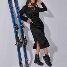 Slit Hem Ruched Ribbed Velvet Dress