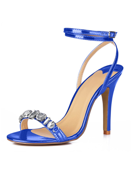 Milanoo High Heel Sandals Womens Open Toe Slingback Sandals with Rhinestones