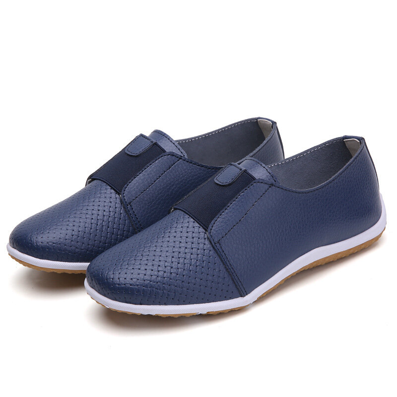 Women Leather Hollow Holes Elastic Solid Color Slip On Casual Shoes