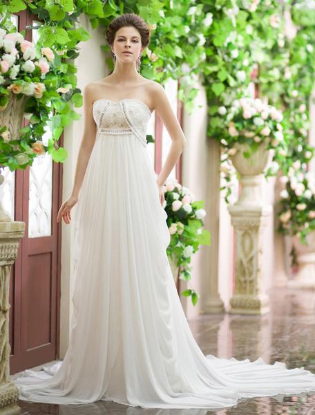 Milanoo Vestido de novia de chifon de color marfil sin tirantes con bordado para playas