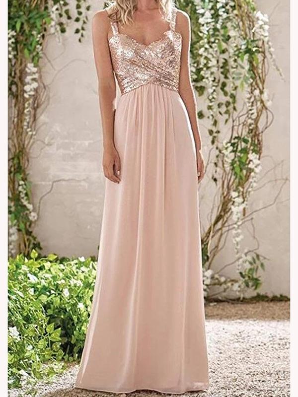 Ericdress Straps A-Line Long Bridesmaid Dress