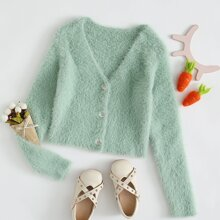 Girls Button Front Fluffy Cardigan
