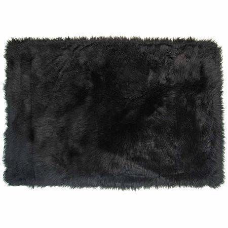 Flokati Shag Rectangular Indoor Rugs, One Size , Black