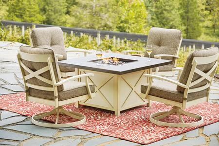 Preston Bay Collection P460-772-821-4 5 PC Patio Set with Fire Pit Table and 4 Swivel Lounge in Antique