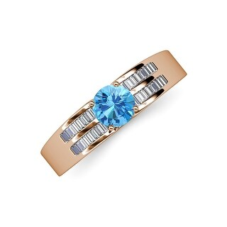 TriJewels Blue Topaz Diamond 1 1/2 ctw Women Engagement Ring 14K Gold (9.5 - Blue - Rose)