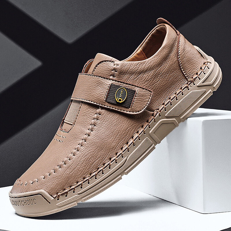 Men Microfiber Leather Hook Loop Hand Stitching Soft Casual Shoes