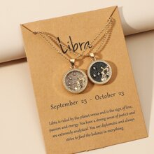2 piezas collar de pareja con redondo con diseño de signo del zodiaco
