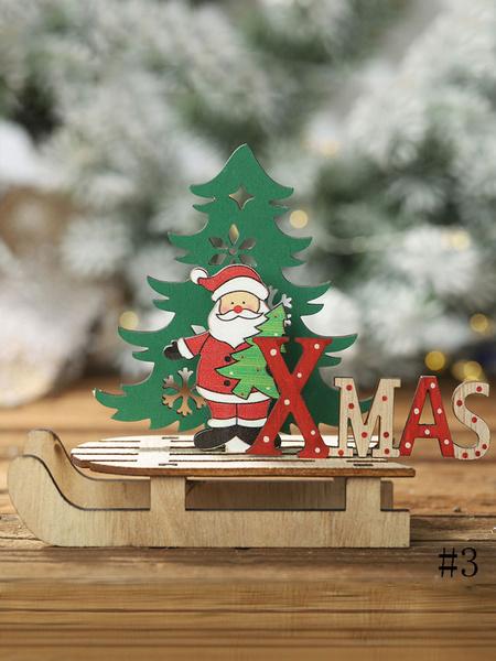 Milanoo Christmas Party Decoration Wood Sleigh Xmas Ornament