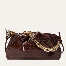 Tasche mit Krokodil Praegung und Rueschen
