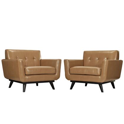 EEI-1665-TAN-SET Engage Leather Sofa Set in Tan