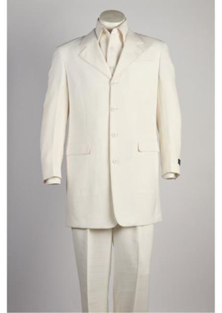 Mens 4 Button Single Breasted White Orange Suit