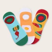 3 Paar Fruchtmuster Socken