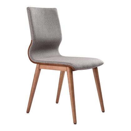 Robin Collection LCRBSIGR Mid-Century Dining Chair in Walnut Finish and Gray Fabric - Set of