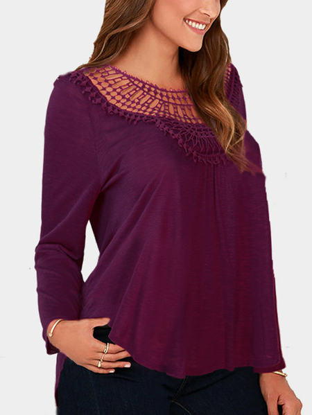 Yoins Purple Red Loose Hollow Out Round Neck Blouse