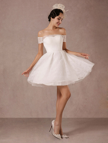 Milanoo Short Wedding Dress Lace Off The Shoulder Mini A-line Vintage Bridal Dress