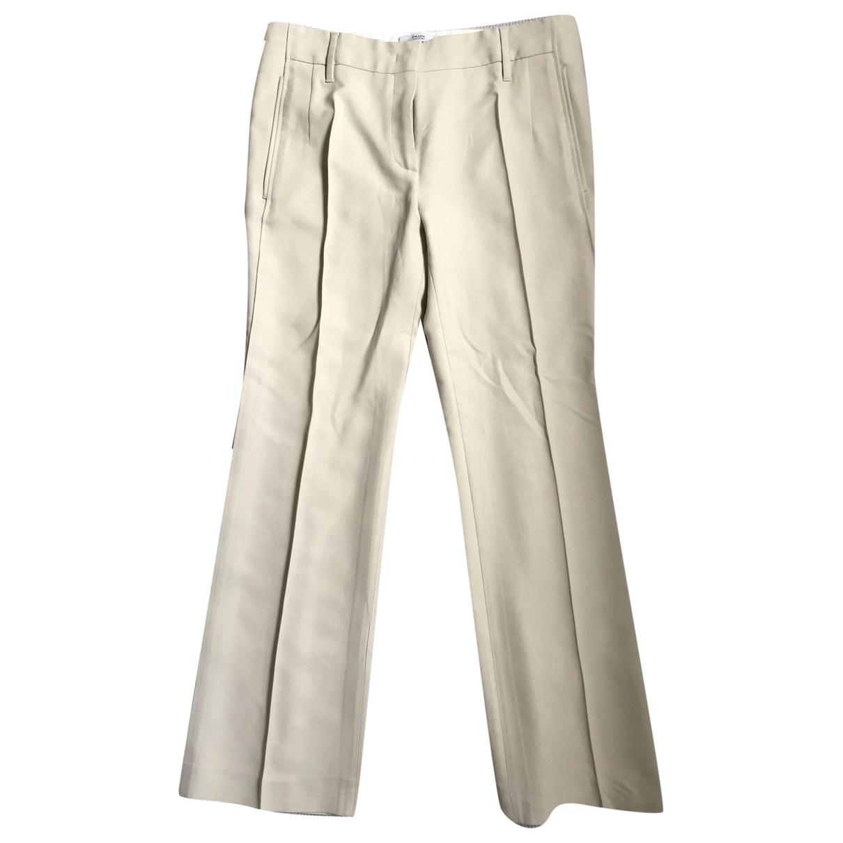Prada \N Ecru Silk Trousers for Women 40 IT