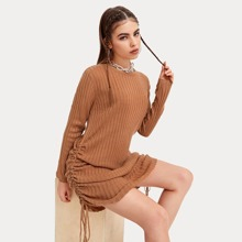 Drawstring Ruched Side Ribbed Knit Sweater Dress