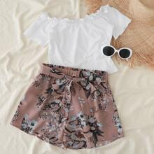 Rib-knit Tee & Belted Floral Shorts Set