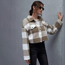 Collared Buttoned Front Buffalo Plaid Teddy Jacket