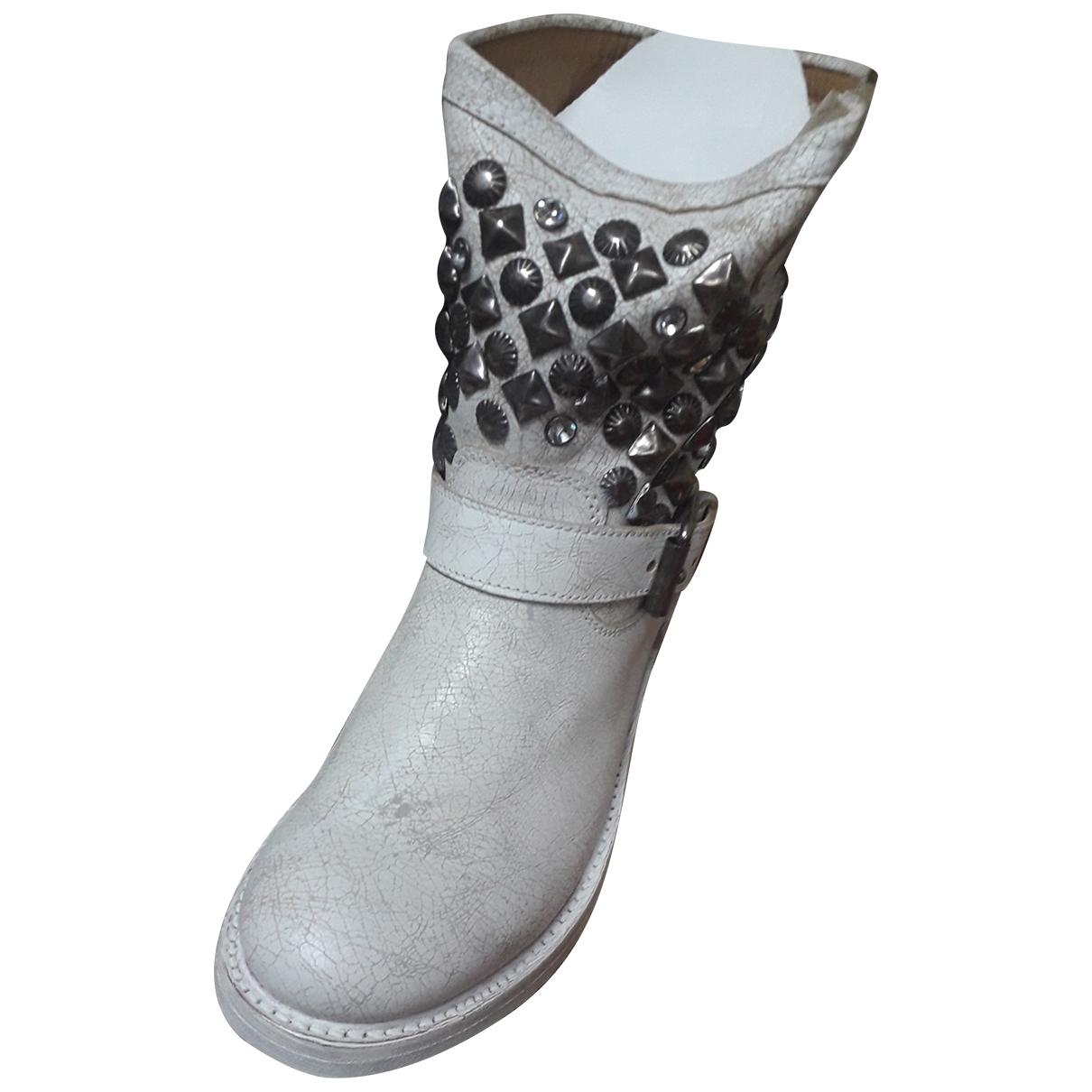 Ash - Bottes   pour femme en cuir - blanc