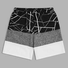 Men Geo Print Colorblock Shorts