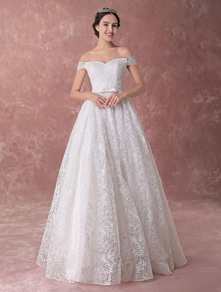 Milanoo Vestidos de novia de marfil Vestido de princesa Ball fuera del hombro Vestido de novia de lujo de lentejuelas de lazo de lazo de hombro