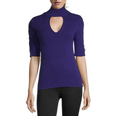 Bold Elements Womens Mock Neck Elbow Sleeve Pullover Sweater, X-small , Purple