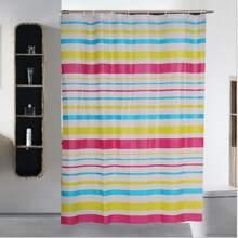 Duschvorhang mit Streifen Muster und 12 Haken