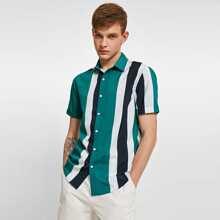 Men Colorblock Striped Shirt