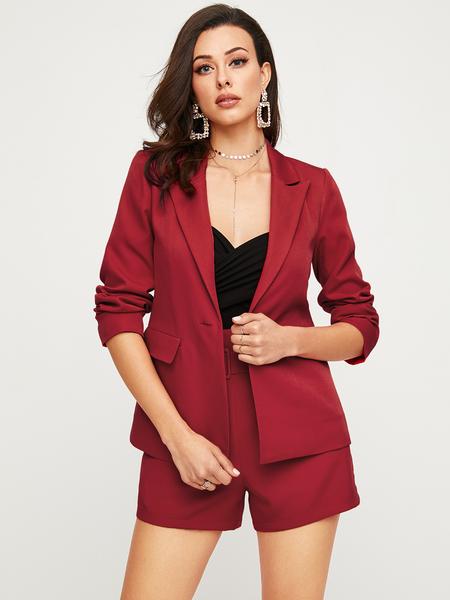 YOINS Burgundy Button Design Long Sleeves Blazer