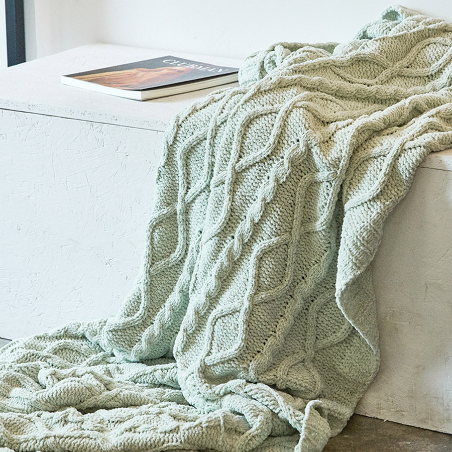 Pure Color Simple Style Chenille Material Knitting Blanket