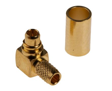 RS PRO Right Angle 50Ω Cable Mount Coaxial Connector, Plug, Gold, Crimp, Solder Termination, RG174/U