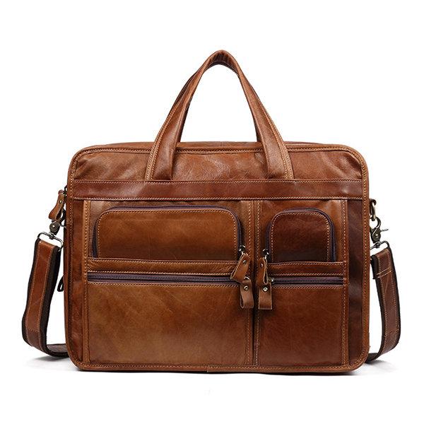 Men Genuine Leather Briefcase Business Laptop Bag Vintage Shoulder Bag