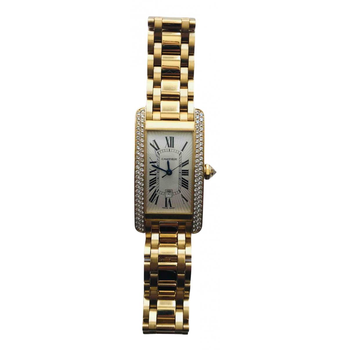 Cartier - Montre Tank Americaine pour femme en or jaune - dore