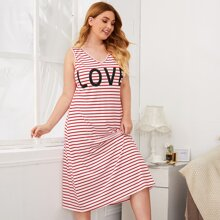 Plus Letter Graphic Striped Nightdress
