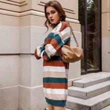 Drop Shoulder Striped Sweater Dress