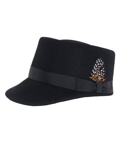 Men's Black Removeable Feather Accent 1 Wool Hat