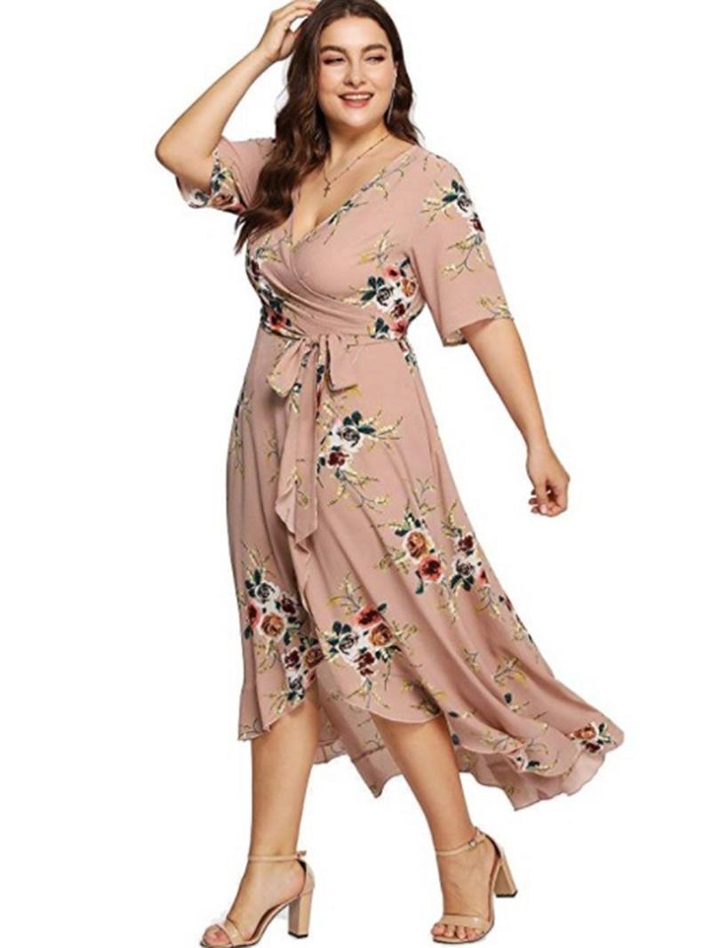 Ericdress Plus Size Half Sleeve Ankle-Length V-Neck Floral Dress
