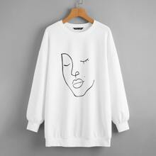 Pullover mit sehr tief angesetzter Schulterpartie und Figur Grafik