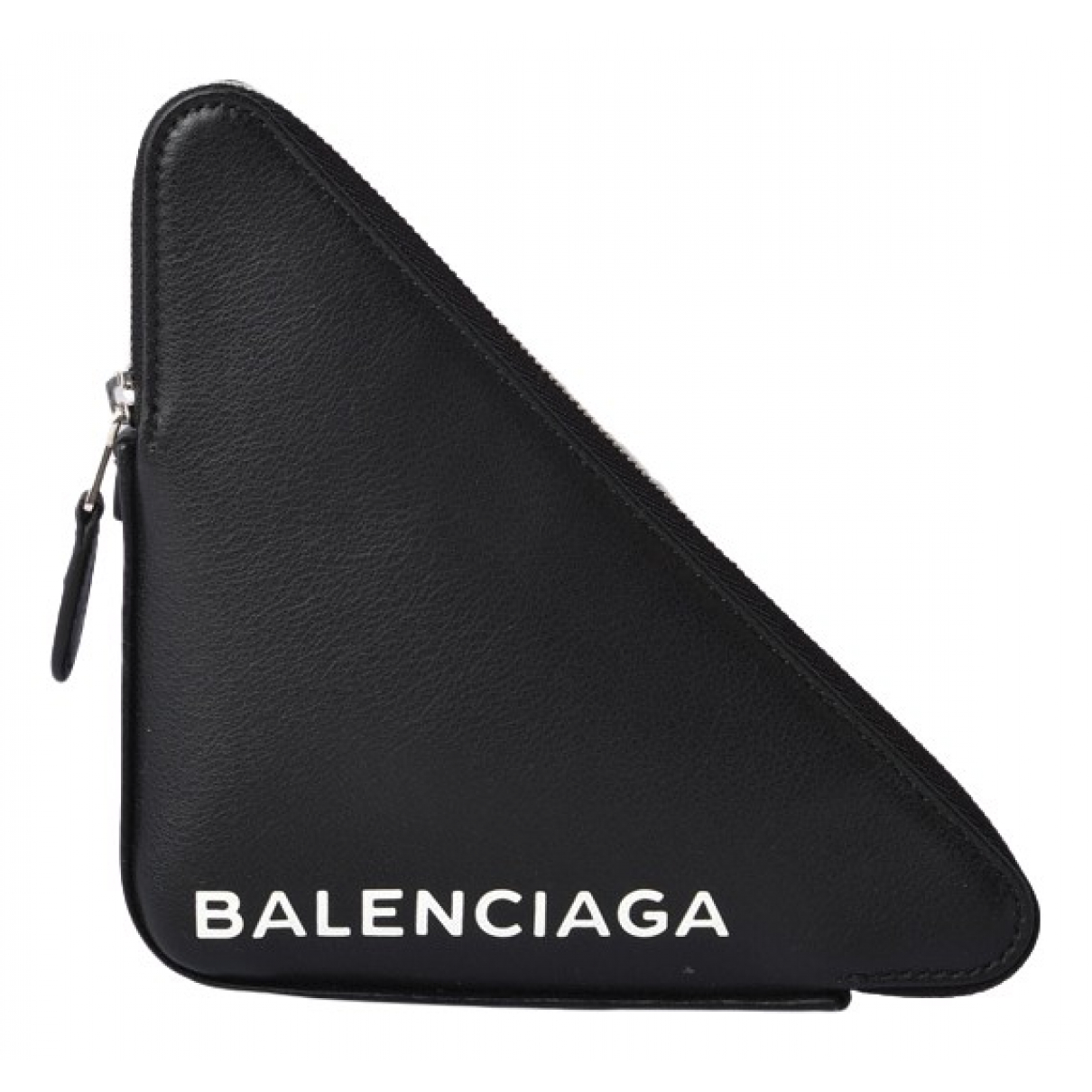 Balenciaga Triangle Clutch in  Schwarz Leder