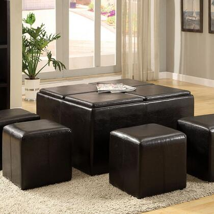 Holloway CM4046 Tray Top Nested Ottomans with Contemporary Style  4 Flip Top Trays  Espresso Finish  4 Nesting Ottoman in