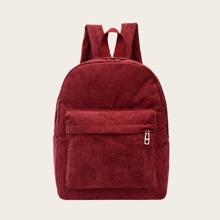 Minimalist Pocket Front Corduroy Backpack