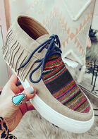 Tassel Colorful Striped Lace Up Flat Sneakers