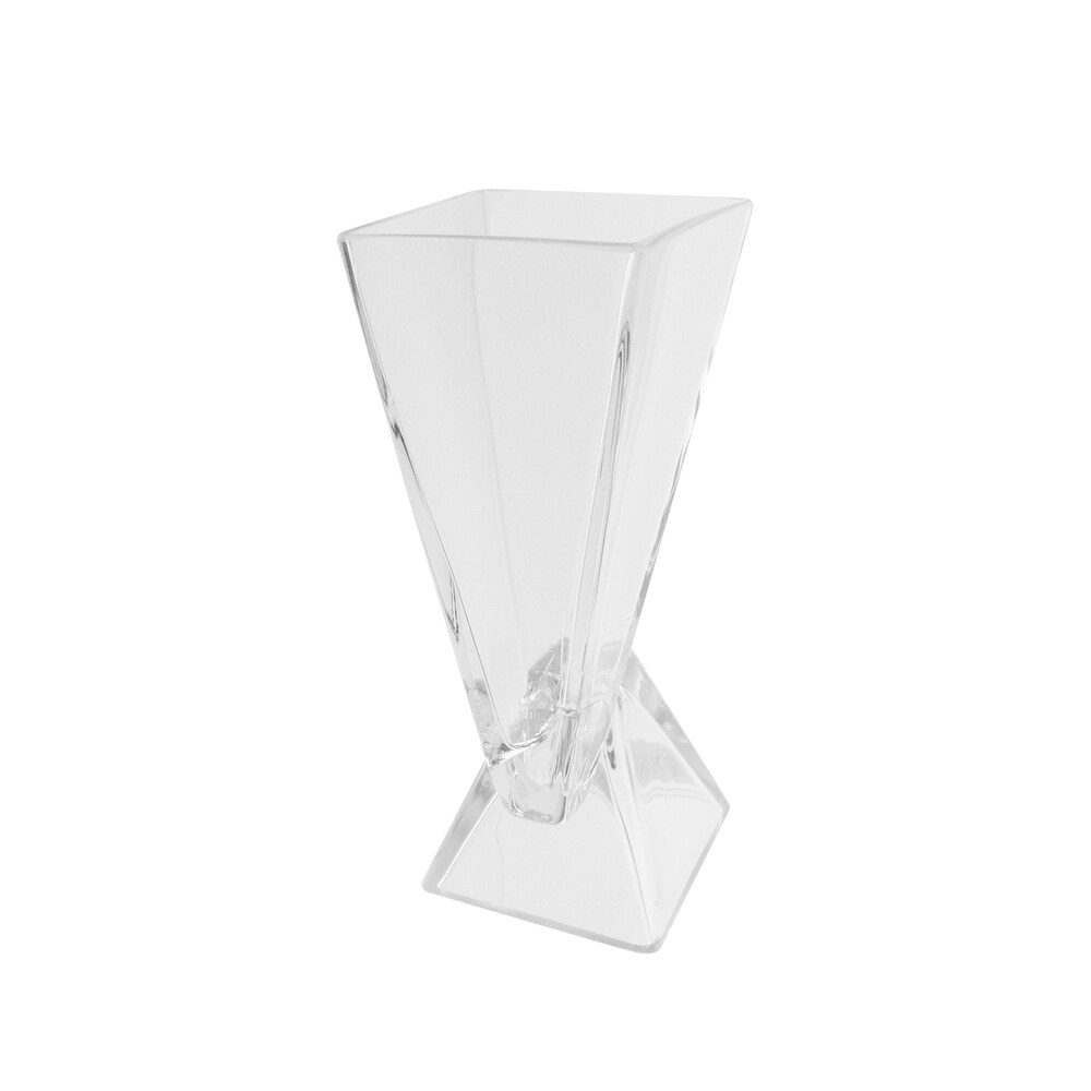 9.75 Clear Offset Pyramids Abstract Transparent Glass Vase (Clear)