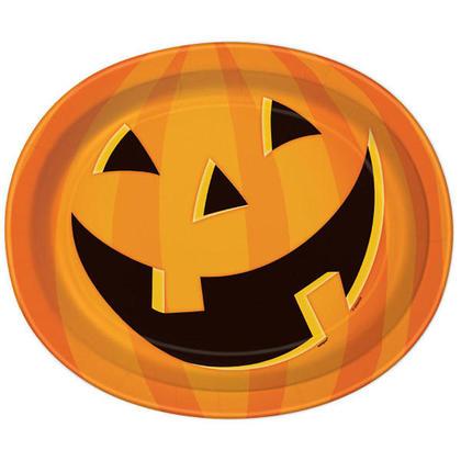 Happy Halloween souriant assiettes en papier ovale citrouille pour décor de fête à la maison, 8pcs