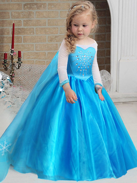 Milanoo Flower Girl Dresses Jewel Neck Long Sleeves Ankle Length A Line Pleated Formal Kids Pageant Dresses Frozen Princess Elsa Dress