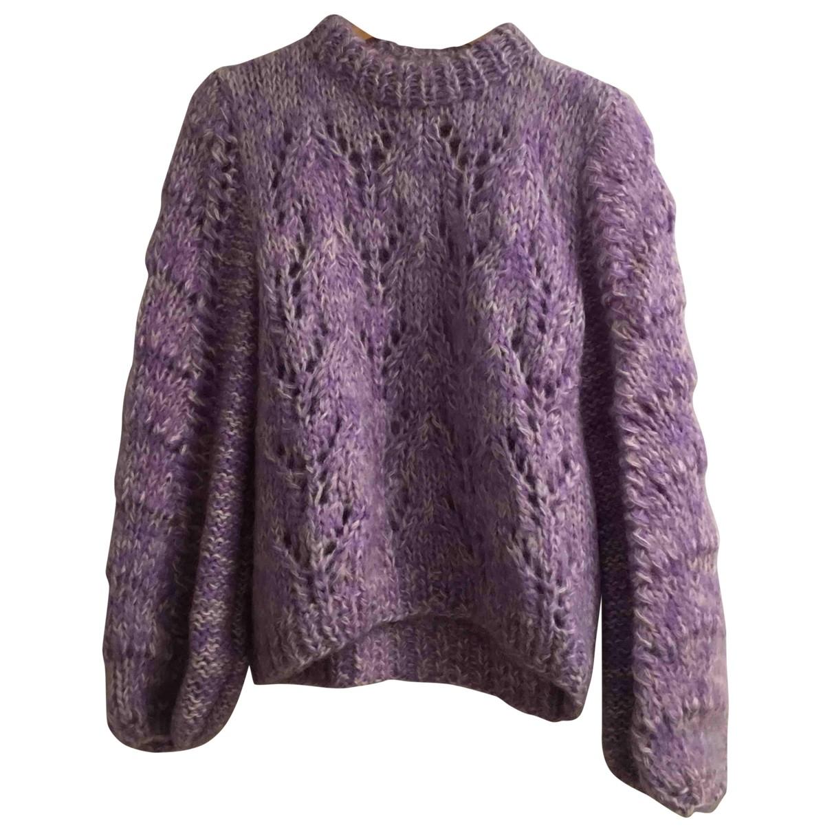 Ganni - Pull   pour femme en laine - violet