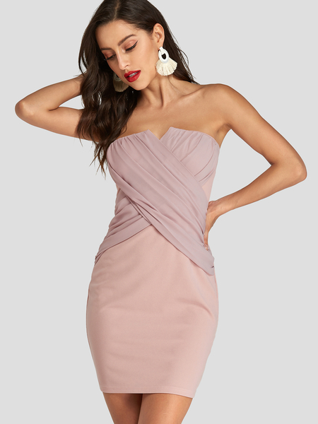 YOINS Pink Strapless Pleated Crossed Front Design Dress